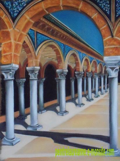 dessin au pastel sec architecture arcade du mausolée du président bourguiba tunisie monastir