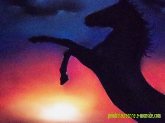 dessin au pastel sec animaux chevaux au coucher de soleil