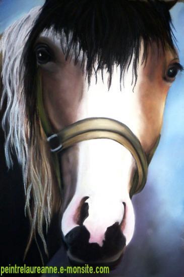 dessin au pastel sec animaux chevaux pie