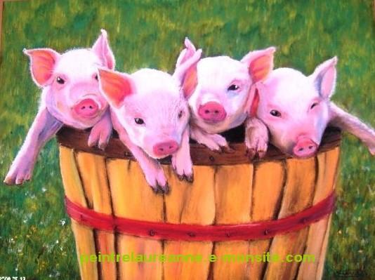 dessin au pastel sec animaux cochons