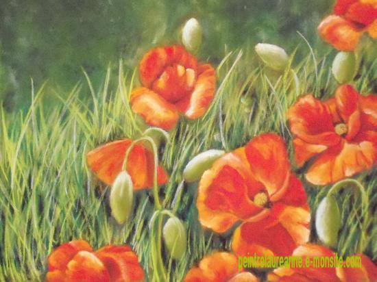 dessin au pastel de fleur coquelicots