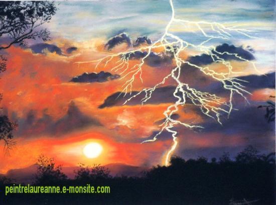 dessin au pastel sec paysage ciel d'orage