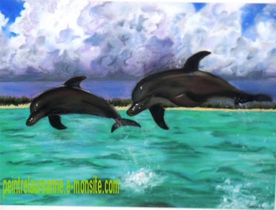 dessin au pastel sec animaux dauphins