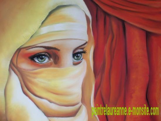 portrait dessin d'une femme voilée au pastel sec