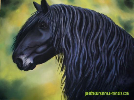 dessin au pastel sec animaux chevaux frison