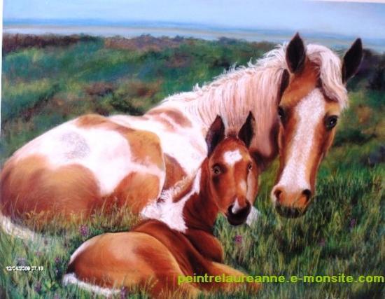 dessin au pastel sec animaux chevaux jument et son poulain