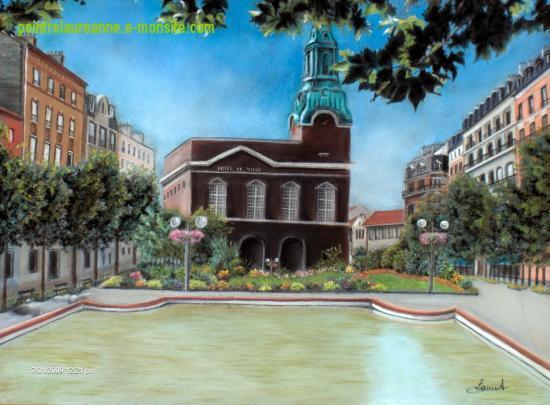 dessin au pastel sec architecture hotel de ville de bois colombes