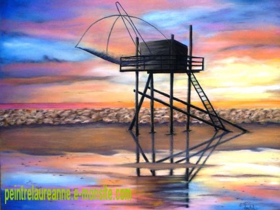 dessin au pastel sec paysage une pecherie au coucher de soleil