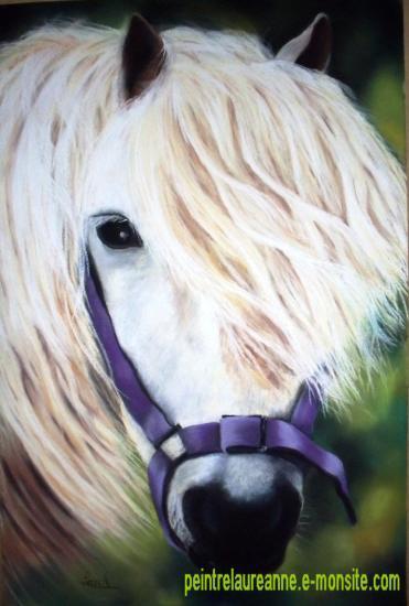 dessin au pastel sec animaux chevaux poney blanc