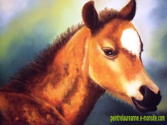 dessin au pastel sec animaux chevaux poulain