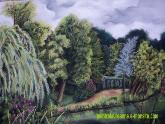 dessin au pastel sec paysage les étangs de coraux ville d'avray