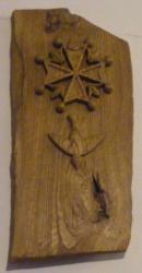 Croix huguenote en orme (1985) hauteur 50 cm