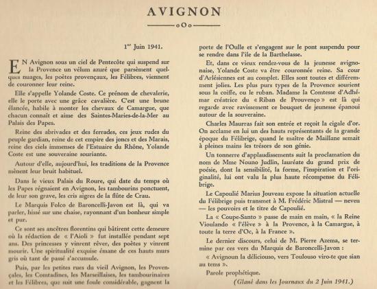 Journaux d'Avignon du 2 juin 1941