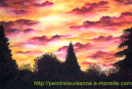 dessin au pastel sec paysage coucher de soleil