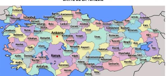 Carte Turquie Kusadasi.La Turquie