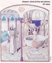 Miniature dans un manuscrit de la fin du Moyen âge (XVe siècle), baptême de Clovis, Saint Rémi (évêque de Reims) applique sur Clovis des onctions, c'est-à-dire des signes de croix avec du chrême (mélange d'huile d'olive et de résine aromatique)