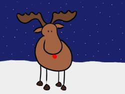 dessin renne au nez rouge