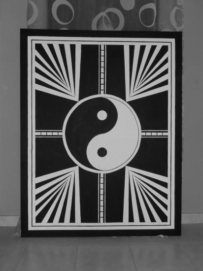 Yin & Yang - Peinture à l'huile - Dimensions: 1,40mètres x 1,20 mètres