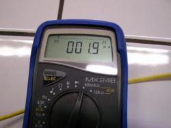 Mesure relevée sur un ampèremètre pour la solution contenant du miel naturel
