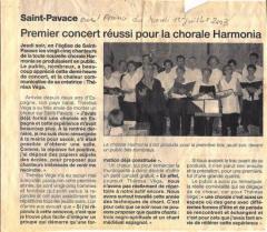 Juin 2003 - Premier concert de la chorale HARMONIA