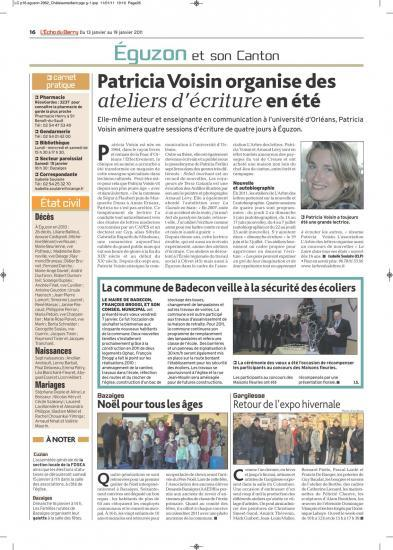 Article L'écho du Berry