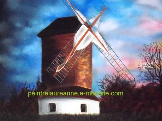 dessin au pastel sec paysage moulin de sannois