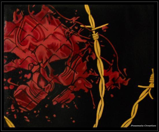 Bloody Skull - Commande spéciale - Huile sur toile - Format 60 cm x 50 cm - Année 2011