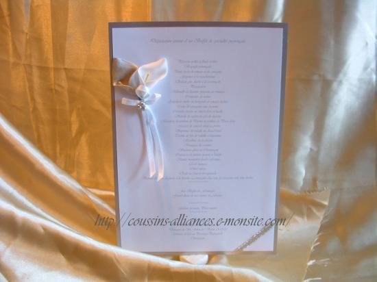 menu A4 blanc argent arum
