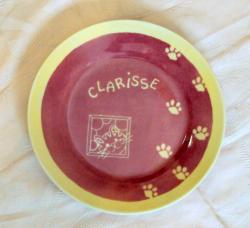 assiette le chat - rose et jaune