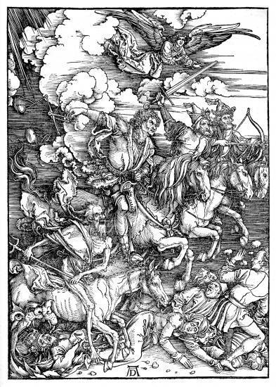les cavaliers de l'apocalypse gravés par Albrecht Dürer