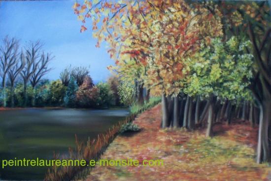 dessin au pastel sec paysage automne