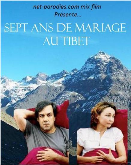 Parodie fausse affiche mix film 7 ans de mariage au tibet