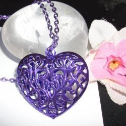Pendentif Coeur Filigrane Violet