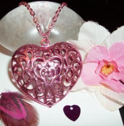 Pendentif Coeur Filigrane Rose