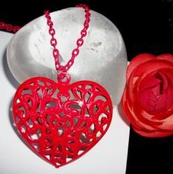 Pendentif Coeur Filigrane Rouge
