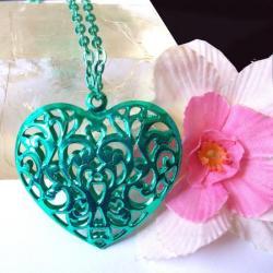 Pendentif Coeur Filigrane Vert