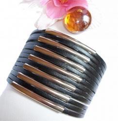 Bracelet Cuir Tube Noir