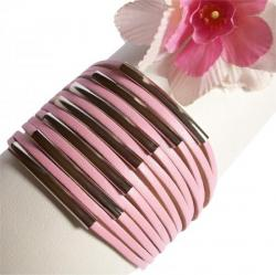 Bracelet Cuir Tube Rose