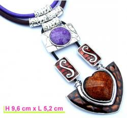 Collier Coeur Marron Violet 11,50 €