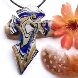 Pendentif Croix Gothique Murano Bleu