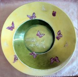 """plat spirale vert """"papillons"""""""