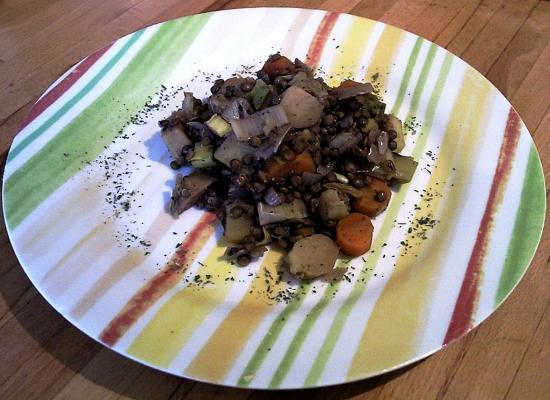 Potée de lentilles vertes aux légumes variés