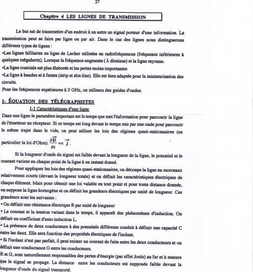 Équations des télégraphistes 1