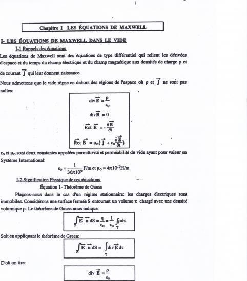 Texte équations de Maxwell 1