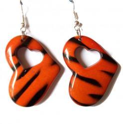 Boucles Tigre Orange Noir Coeur 3,70 €