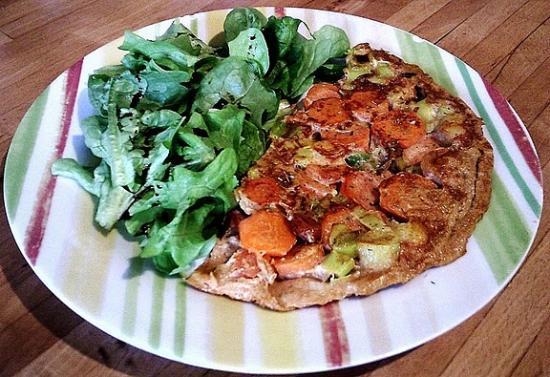 Omelette aux carottes et poireaux