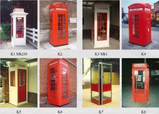 Différent models de cabines téléphoniques anglaise