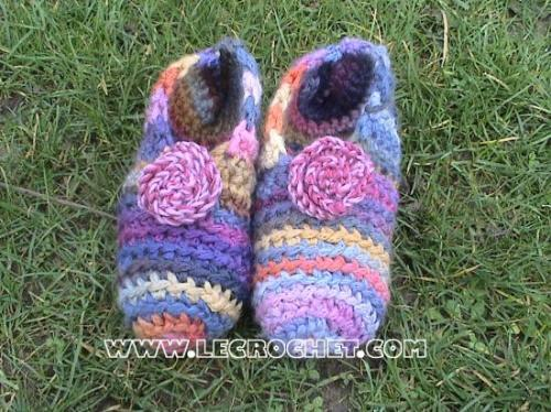 chausson crochet facile adulte