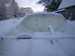 bateau sous la neige