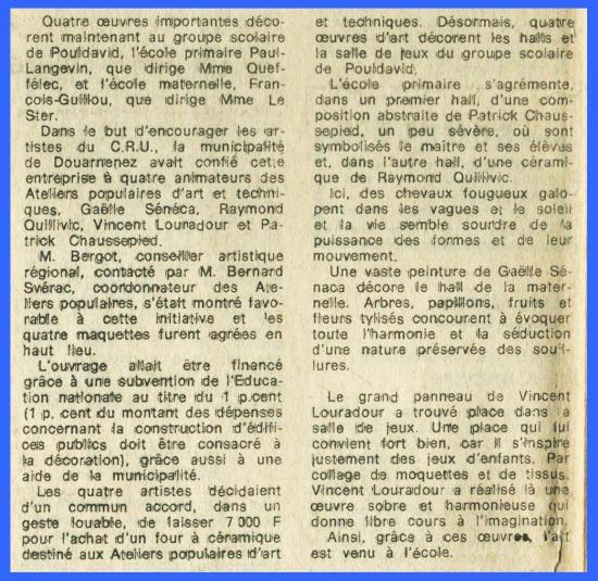 (Coupure de presse 1971) Ateliers populaires.